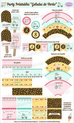 Party Printables :: Gelados de Verão by Kids&Babies Design Party Printables, Baby Kids, Design, Image, Bottle, Cape Clothing