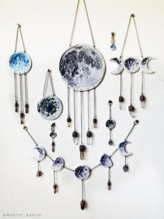 The Celestial Collection by Mystic Earth. Polymer clay and crystal wall art to adorn your home and altar. Only a few are left! Best Picture For Polymer Clay Crafts Crystal Decor, Crystal Wall, Wiccan Decor, Moon Decor, Creation Deco, Moon Art, Clay Crafts, Diy Room Decor, Vinyl Decor