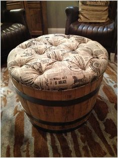 If you have got one or more old wine barrels and you are about to toss them away then change your mind. There are a lot of cool ways to recycle wine barrel Whiskey Barrel Furniture, Barrel Projects, Diy Ottoman, Wine Decor, Unique Furniture, Furniture Nyc, Cheap Furniture, Furniture Design, Furniture Restoration
