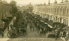 Lyndhurst Way, Camberwell, South London, 1915 - (more towards Peckham, really**) - Amazing pic of cavalry troops assembled in the street during WW1. (**Off Chadwick Road - just down from No 93 ...)