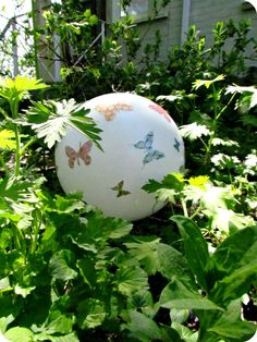 Garden Gazing Ball Paint with Glow in the Dark paint Garden