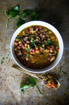 Mixed Bean and Bacon Soup - Heather Christo Bean And Bacon Soup, Bean Soup, Real Food Recipes, Cooking Recipes, Healthy Recipes, Bean Recipes, Soup Recipes, Allergy Free Recipes, C'est Bon
