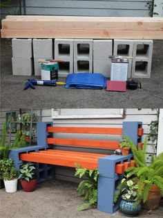 A colored outdoor bench for your garden or your terrace made out of concrete blocks and wooden slats. The concrete blocks are joined together with a silico