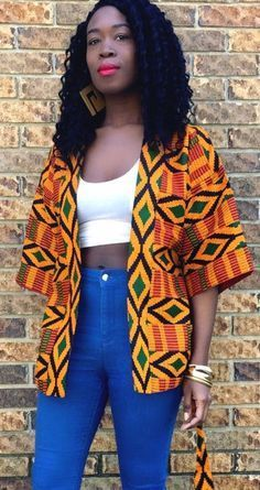 Hot Fresh Short Native Gown Styles That Are Winning Kente Jacket. We love kente printed pieces because of their wild versatility and ability to take a look from prim and posh to downtown-cool. Fully lined. African Fashion Ankara, Ghanaian Fashion, African Inspired Fashion, African Print Fashion, Africa Fashion, Nigerian Fashion, African Prints, African Attire, African Wear