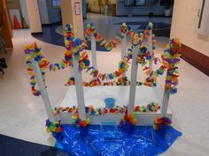 I built this Girl Scout Bridge for my troop's Bridging ceremony! Complete w/ a wishing well. :)   -Amy