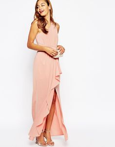 UK 8 is US Size 4 Image 4 of ASOS WEDDING One Shoulder Sexy Slinky Maxi Dress