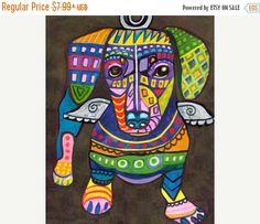 45% Off Sale- Dachshund Art, Dachshund print, Dachshund Painting, Dachshund Gift, Doxie Dachshund Abstract, Dachshund Decor