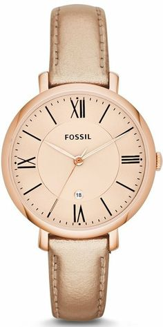 #Fossil Jacqueline Three-Hand Leather #Watch Metallic Rose Es3438