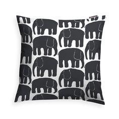 Elefantti Putetrekk 48x48cm, Sort, Finlayson