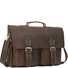 A classic double pocket leather briefcase that makes for a terrific business companion. Briefcases, Types Of Bag, Leather Briefcase, Classic Leather, Satchel, Pocket, Brown, Bags, Leather Portfolio