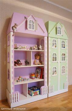 Doll House with Storage Bins Kids Bedroom Sets, Baby Bedroom, Girls Bedroom, Kids Room, Barbie Furniture, Dollhouse Furniture, Kids Furniture, Baby Play House, Bedroom Crafts