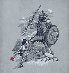 This shows David fighting the giant Goliath. Atticus plays a David in the fight against common conception.
