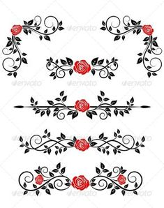 Buy Roses with Floral Embellishments by VectorTradition on GraphicRiver. Roses with floral embellishments and borders for design. Editable (you can use any of your vector program) and J. Tummy Tuck Tattoo, Custom Sketchbook, Free Avatars, Floral Vintage, Page Borders, Celtic Symbols, Buy Roses, Wedding Designs, Doodle Art