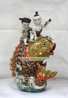 Happy Chinese New Year Shiwan Ceramic Figurine Chinese New Year Poster, Happy Chinese New Year, Chinese Babies, Propaganda Art, Chinese Ceramics, Sculptures, Porcelain, Pottery, Clay