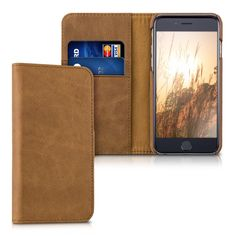 """Kalibri Leather case """"James"""" for Apple iPhone 6 / 6S - Real leather protective cover wallet case style with compartments for bank cards in cognac: Amazon.co.uk: Computers & Accessories"""
