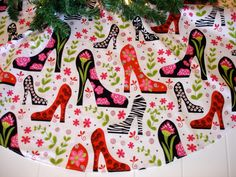 "Christmas Tree Skirt, Shoes Tree Skirt, High Heel Shoes, Mod, Contemporary, 40"" Tree Skirt, Unique Gift for Her. $55.00, via Etsy."