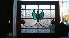 "ANTIQUE ENGLISH LEADED STAINED GLASS WINDOW PANELS 1900s LR13 (20.25"" X 18"") #English"