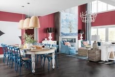 HGTV Dream Home 2021: Tour Pictures | HGTV Dream Home 2021 | HGTV Aqua Walls, Red Walls, Small Kitchen Layouts, Bedroom Wall Colors, Room Pictures, Library Pictures, Kitchen Pictures, Interior Paint Colors, Grey Cabinets
