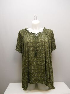 PLUS SIZE 1X Womens Tunic Top FADED GLORY Green Diamond Scoop Neck Short Sleeves #FadedGlory #Tunic #Casual