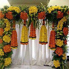 Orange and Yellow Floral Bottle Shape Decoration Wedding Hall Decorations, Desi Wedding Decor, Marriage Decoration, Backdrop Decorations, Festival Decorations, Floral Decorations, Wedding Mandap, Flower Decoration For Ganpati, Marigold Wedding