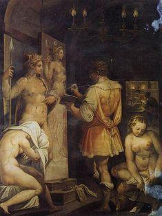 Giorgio Vasari - The Studio of the Painter (Casa Vasari, Florence) Renaissance Kunst, Die Renaissance, Renaissance Paintings, Italian Renaissance, Giorgio Vasari, Italian Painters, Italian Artist, First Art, Fantasy Kunst