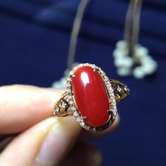 Aliexpress.com : Buy 6.4*12mm 0.48g natural 18k rose gold natural red coral wedding ring fine jewelry ring from Reliable ring holder jewelry suppliers on Serena's Jewelry