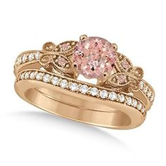 Nothing but silver/white gold/Platinum, but beautiful! rose Gold Butterfly Morganite and Diamond Engagement Ring Bridal Set