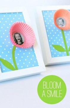 Bloom a smile craft with children's faces and cupcake liners. Mother's Day Crafts for Kids: Preschool, Elementary and More on Frugal Coupon Living! #artsandcraftsforkids,