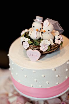 Cake by Publix (without the nest and birds) Bird Cakes, Cupcake Cakes, Wedding Cake Toppers, Wedding Cakes, Pink Color Schemes, African American Weddings, Wedding Sweets, Bridal Shower Cakes, Cake Flavors