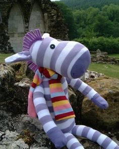 Sock Zebra, Zara, hand crafted soft toy sock animal by Treacher Creatures Pet Toys, Baby Toys, Kids Toys, Sock Crafts, Fun Crafts, Sock Toys, Sock Animals, Stuffed Animal Patterns, Stuffed Animals