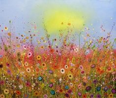 Angela Anderson Art Blog: Fun Splatter Floral Paintings - Kid's Art Class Yvonne Coomber's artwork as inspiration