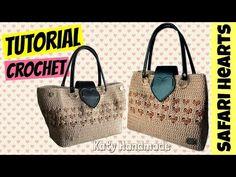 "Tutorial borsa uncinetto ""Safari"" | Punto cuore | Heart stitch crochet || Katy Handmade - YouTube"