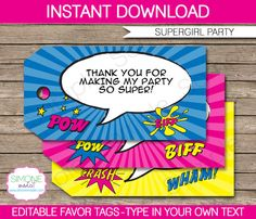 Girl Superhero Party Favor Tag or Thank You Tag by SIMONEmadeit