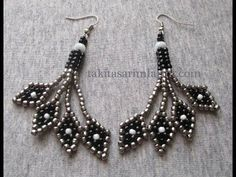 Diamond dangle earrings ~ Seed Bead Tutorials                                                                                                                                                                                 More