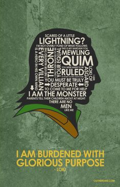 Loki ~ Avengers (2012) ~ Movie Quote Poster by Stephen Poon #amusementphile