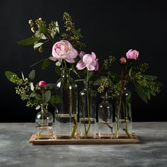 Assorted Glass Jars with Tray - Magnolia Market Bottle Vase, Bottles And Jars, Glass Jars, Joanna Gaines, Dining Room Table Centerpieces, Table Decorations, Magnolia Market, Magnolia Homes, Welcome To My House