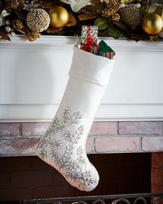 White+&+Silver+Collection+Christmas+Stocking+at+Neiman+Marcus.