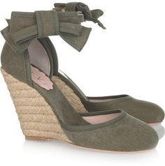 ece9f165ea5128 RED Valentino Canvas espadrille wedge sandals