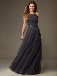 A-line+Scoop+Floor-length+Tulle+Prom+Dresses/Evening+Dresses+#SP6573