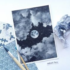 Serene Night Sky Starry and Cloudy Moon Painting Acrylic Moon Painting, Acrylic Painting Canvas, Painting & Drawing, Drawing Sky, Night Sky Painting, Small Canvas Art, Mini Canvas Art, Arte Sketchbook, Aesthetic Art