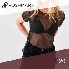 Victoria's Secret black mesh tee Product Details:                                                                                                                This easy crop teams a jersey-like fit with allover mesh for the win. V-neck Hits at waist Imported polyester/spandex Victoria's Secret Tops Tees - Short Sleeve
