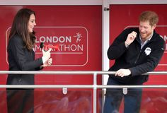 Kate Middleton and Prince Harry Goofing Off at the London Marathon