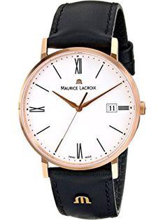Maurice Lacroix Men's EL1087-PVP01-110 Eliros Analog Display Analog Quartz Black Watch ❤ Maurice Lacroix Men's Watches, Watches For Men, Swiss Made Watches, Quartz, Display, Leather, Accessories, Black, Floor Space