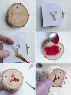 Crafts with natural materials for Christmas - 11 ideas for young and old tree decorations tinker natural materials christmas wooden discs glitter Clay Christmas Decorations, Easy Christmas Crafts, Christmas Wood, Diy Christmas Ornaments, Christmas Design, Homemade Christmas, Christmas Projects, Simple Christmas, Tree Decorations
