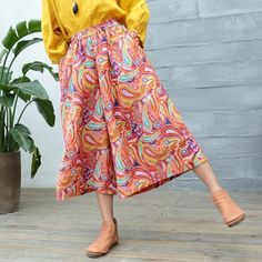 Casual Ninth Trousers    #prints #linen #wideleg #trousers #woman #pants #summer