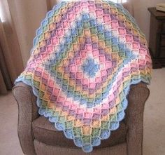 Bavarian Rainbow Afghan Free Pattern - This colorful crochet afghan pattern has plenty of color and texture, and is great for adults and babies alike.