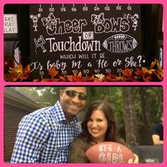 Order on FB at Fresh Prints of Belaire  Football theme gender reveal party ideas, cheer bows or touchdown throws, which will it be... Is baby m a he or she? Boy or girl ideas, it's a girl it's a boy, cheerleader, foam board, sign, fall themed, handlettering, chalkboard, handpainted football