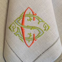 Two color custom monogram on napkin Monogram Design, Monogram Fonts, Monogram Initials, Monogram Letters, Wood Letters, Monogrammed Napkins, Linen Napkins, Embroidery Monogram, Hand Embroidery