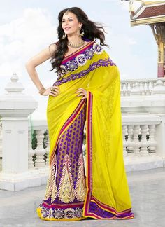Lovely Yellow Lehenga Saree @ $80