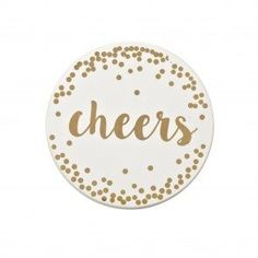 """Greet every guest when they put their drink down with a set of 4 Harman Christmas Ceramic Printed Coasters. With """"Cheers"""" written across in chic gold, your friends and family will surely rejoice in shared good times. Knife Block Set, Christmas Cocktails, Kitchen Gadgets, Coasters, Decorative Plates, Ceramics, Storage, Cheers, Prints"""